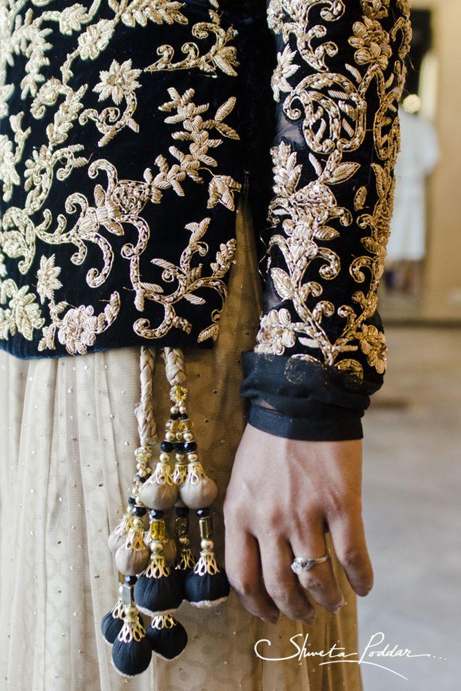Lehenga gold zari zardozi indian weddings bride bridal wear www.weddingstoryz.com details Details