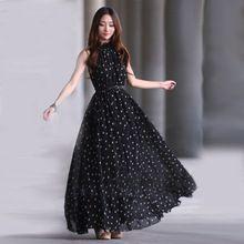 Vestidos de festa Mode Femmes de Polka Dots Maxi Dress Avec Ceinture Longue Casual Summer Beach En Mousseline de Soie Robes de Soirée Pas Cher(China (Mainland))