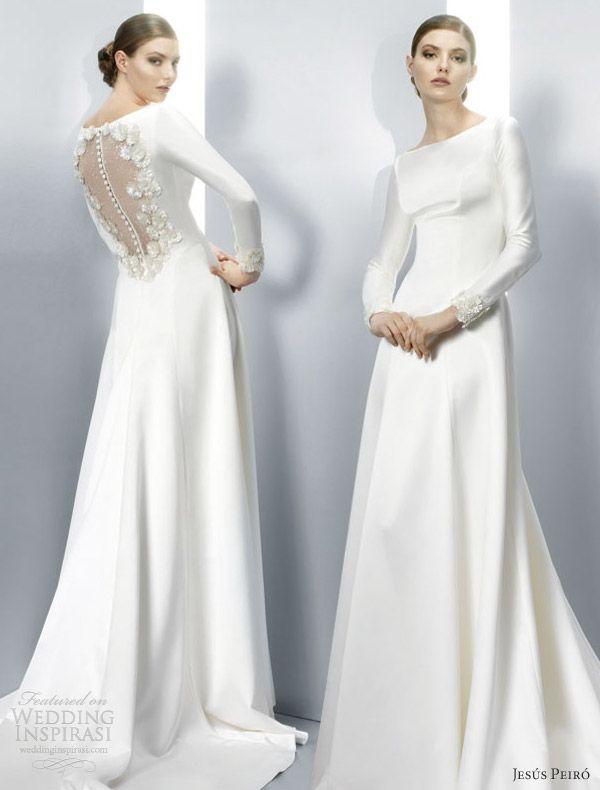 jesus peiro #2013 long sleeve gown #twilight wedding dress illusion back