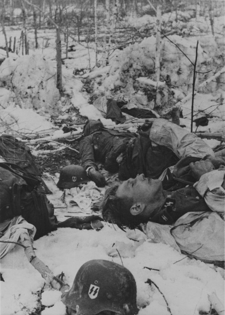 "✠ Dead Waffen SS soldiers lie frozen, winter of 1942, Eastern Front.  80-90% of all German military casualties were killed by the Soviets. They would kill more Germans in one battle than the rest would during the whole war. And Waffen SS formations suffered most casualties. A German general once said: 'Each German soldier is worth ten of his enemies. Unfortunately that's not enough. Victory will require him to be worth one hundred""."