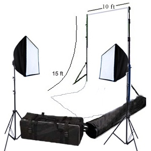 10ftx15ft Seamless White Muslin Backdrop with a Stand and Two Softboxes  Product ID: P#3111  Sale price : $346.09