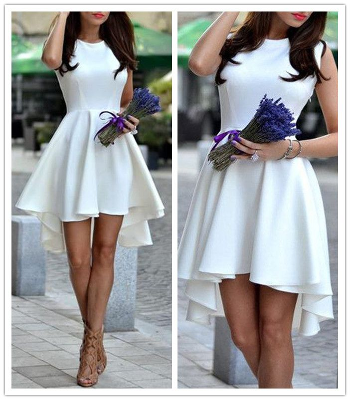 homecoming dresses,Sleeveless Homecoming Dress,White Short Prom dress,Cute Homecoming Gown,A-line Homecoming Gown,Satin Prom Dress With Pleats