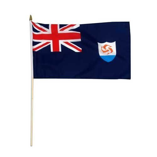 "Anguilla Flag 12 x 18 inch by US Flag Store. $2.20. Brilliant Colors Printed on Polyester Fabric. Mounted to a 24"" Wooden Stick. Sewn Edges. International 12in x 18in Stick Flag. Low Cost Shipping Available!. Anguilla 12 x 18 inch stick Flag, mounted on a 24 inch wooden stick. Flag is made from polyester and printed in bright colors to make an attractive flag. Each flag is individually sewn around the edges."