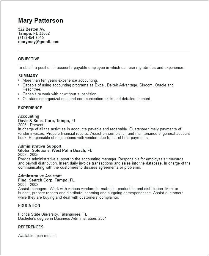 Accounts Payable Resume Example Resume With Keywords Example Plus Accounts Payable Resume Resum With Images Resume Examples Resume Cover Letter Examples Job Resume Samples