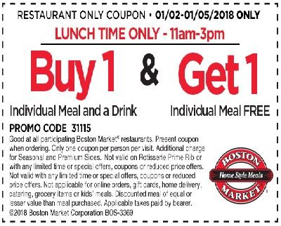 Get Free Coupon BOGOF Meal From Boston Market #coupon #couponfreebies #freeoffer #BostonMarket #freestuff #freebies