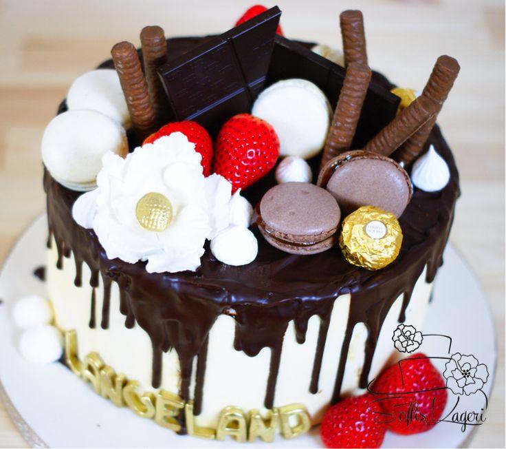 Chocolate drip cake. Chocolate, caramel and strawberry  Soffi's Kageri