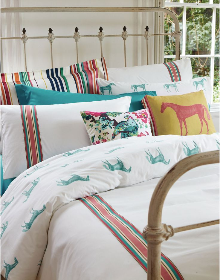 DUVETHORSE Reversible Ribbon Stripe Horse Duvet Cover - loving joules new bedding range!!
