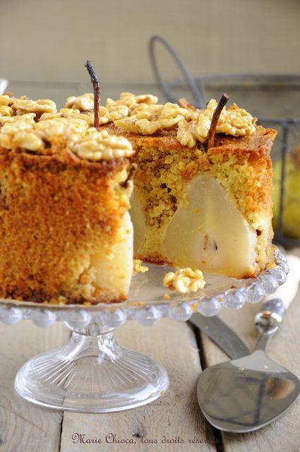 Gâteau moelleux et léger aux poires, vanille et Noix « caramélisées » au sirop d'agave