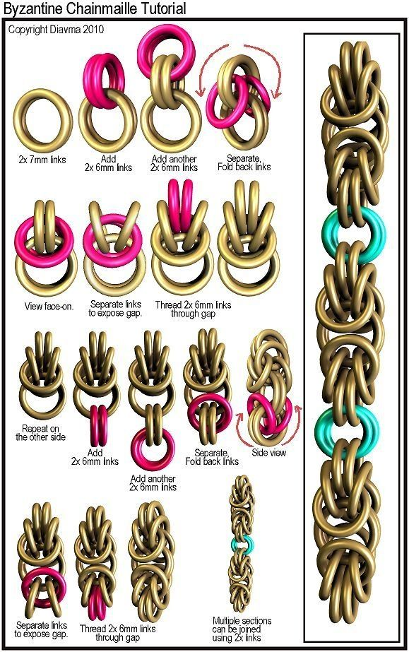 DIY Jewelry | BRACELETS :: Byzantine Chain Tutorial :: From Diavma's Handcrafted Chainmaille Jewelry Tutorials | #howto #jewelry by sally tb