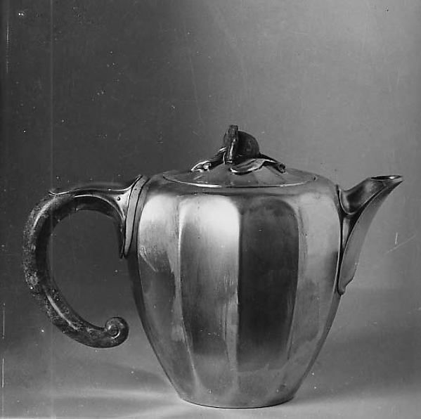 Coffeepot by Jean E. Puiforcat (1897–1945). Date: 1922. Medium: Silver, lapis lazuli, and ivory. Puiforcat was an Art deco designer who attempted to distance himself from the previous generation's naturalism. In the coffeepot the lapis lazuli plays a functional role as well as decorative, due to its insulating feature. Reference: The Metropolitan Museum of Art. Coffeepot. metmuseum. [Online]. Available: Follow Link.