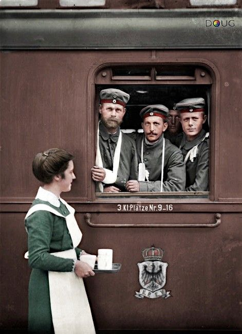 WW1 Wounded German troops receiving refreshments on a Royal Prussian (K.P.E.V.) luggage wagon in 1915