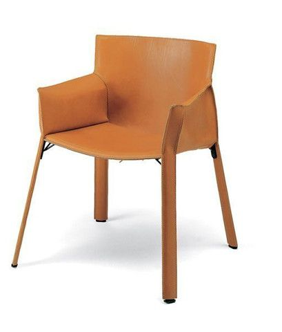 Mario Bellini's Cab Armchair hides a steel frame under the saddle-stitched hide leather.