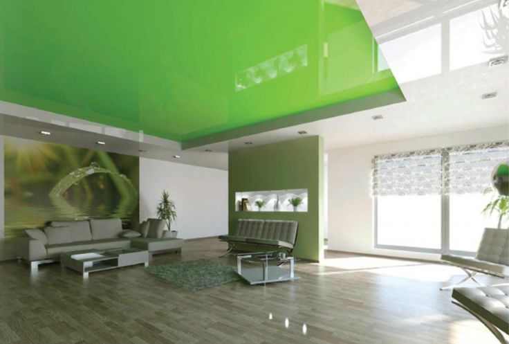 Green lacquer stretch ceiling will make your apartment bright and colorful. http://109ltd.cz