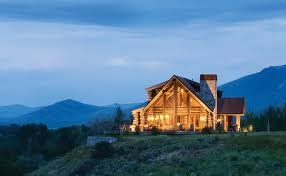 Log cabin home with a beautiful view. Yes please.