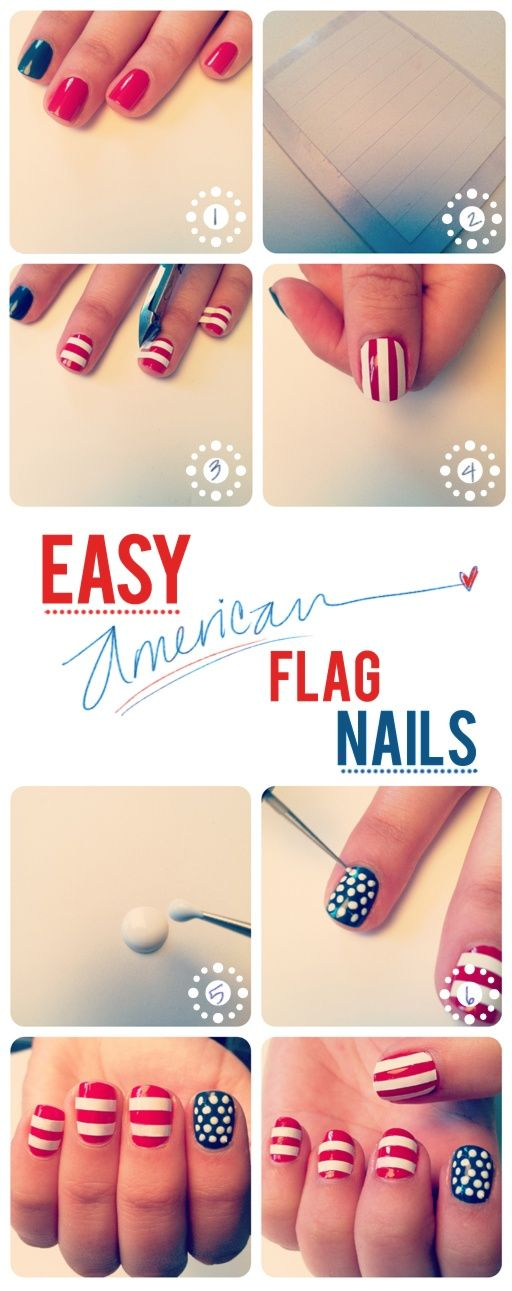Easy American Flag nails tutorial!