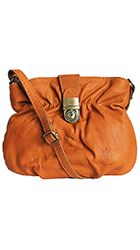 Ruched Orange Soft Leather Satchel/Cross Body Bag - Down to £34.99 from £19.99