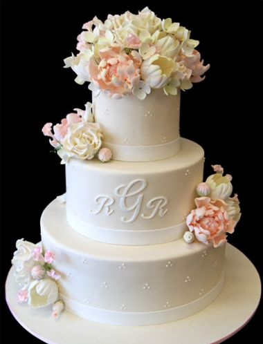 Delicate Flower & Monogram Wedding Cake. Only with fall colors