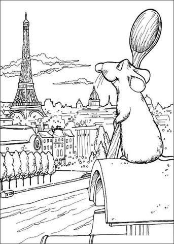 Sitting on the roof of a Parisian mansion, Remy dreams of becoming a chef. Eiffel tower is on the horizon. coloring page from Ratatouille category. Select from 27237 printable crafts of cartoons, nature, animals, Bible and many more.