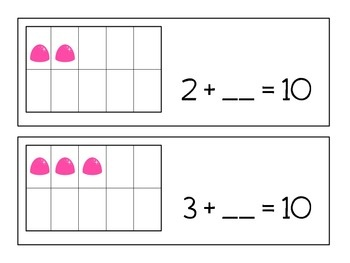 Here's a set of cards to help students practice facts that add to ten. I like the way the ten-frame is connected to the written expression.
