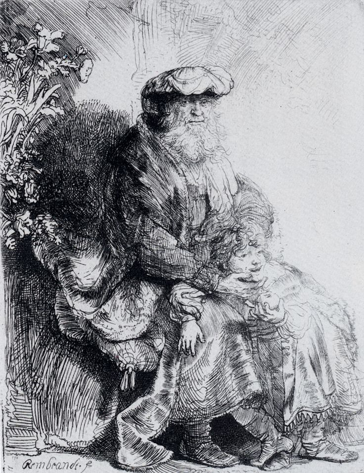 Rembrandt (1606-1669) Jacob Caressing Benjamin Etching c1637 Private collection