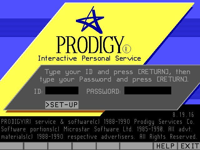Prodigy Login Screen - oh the sound of the modem when there was a successful connection! I am one million years old.