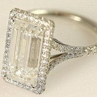 5 Carat Emerald Cut Diamond Ring - Platinum.... WOW. just wow.