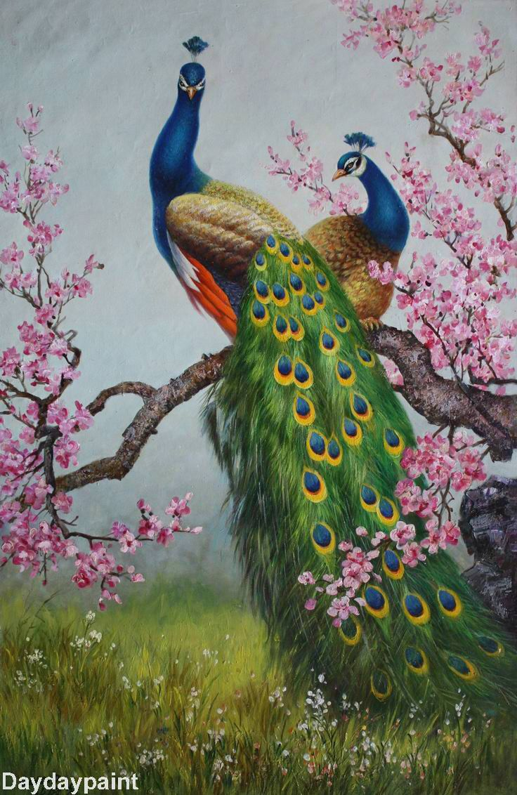 Handmade Peacock Paintings 006, 100% Hand-painted on Canvas by Outstanding Artists, Museum Quality and Affordable Price. Description from daydaypaint.com. I searched for this on bing.com/images