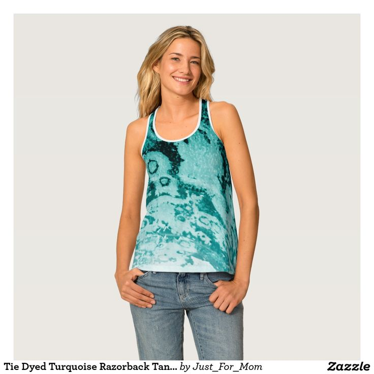 Tie Dyed Turquoise Razorback Tank Top by Janz