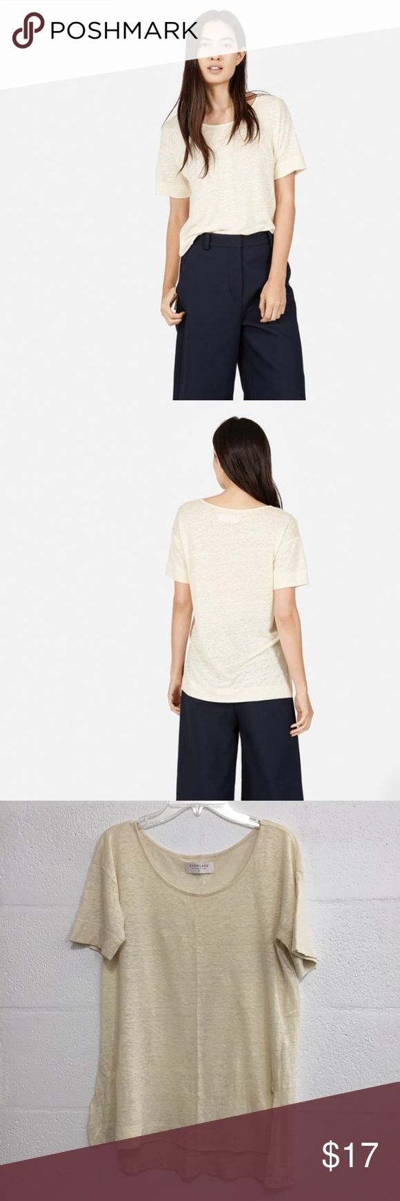 Everlane Linen Short-Sleeve Tee Sz XS Everlane Linen Short-Sleeve Tee in cream, size extra small. Relaxed fit so this could work for a small as well. Great condition, no issues. No longer available on their website. First two pictures are stock to show the fit. Everlane Tops Tees - Short Sleeve