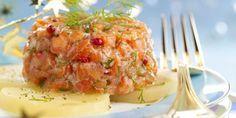 TARTARE AUX 2 SAUMONS & A L'ANETH (1 tranche de 350 g de saumon cru, 100 g de saumon fumé, 1 bouquet d'aneth, 5 pommes de terre, 1 citron non traité, 2 échalotes, 1 c à s de moutarde au poivre vert, 2 c à s d'huile d'olive, 1 c à s de baies roses, 1 c à s de gros sel, sel, poivre blanc)