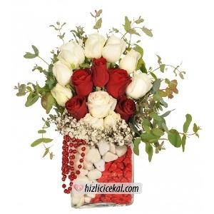 Kırmızı Beyaz Gül Aranjmanı  Hızlı Çiçek Al ile sevdiklerinize aynı gün teslimat seçeneği ile kare cam içinde kırmızı ve beyaz taş aksesuarlı, 10 adet beyaz güller ve 5 adet kırmızı güllerin birleşiminden hazırlanmış gül aranjmanı sipariş edin.  89,00 tl + kdv  http://www.hizlicicekal.com/cicekler/cicekciler/cicek/59/kirmizi-beyaz-gul-aranjmani/  http://www.hizlicicekal.com/cicekler/cicekciler/cicek/59/kirmizi-beyaz-gul-aranjmani/