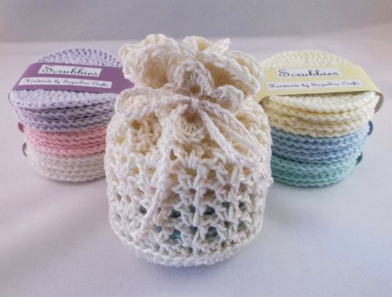 Crocheted Face Scrubbies set scrubbies and wash bag is a nice gift idea