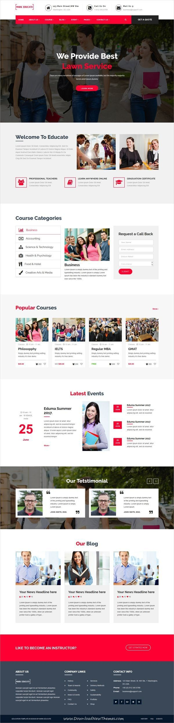 Mark Educate is clean and modern design 2in1 responsive #HTML bootstrap template for university college and #school #education website to live preview & download click on Visit