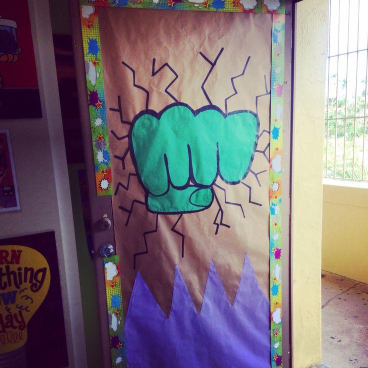 Superhero classroom Hulk door