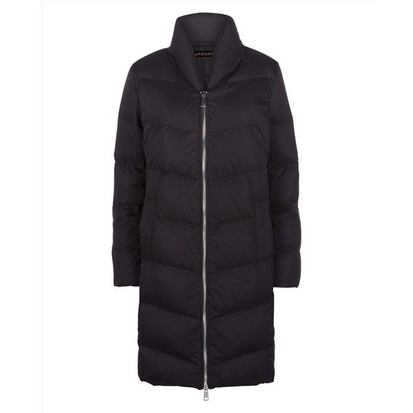 Jaeger Jaeger Long Puffer Coat ($245) ❤ liked on Polyvore featuring outerwear, coats, quilted puffer coat, puffer coats, long puffy coat, long coat and quilted coat