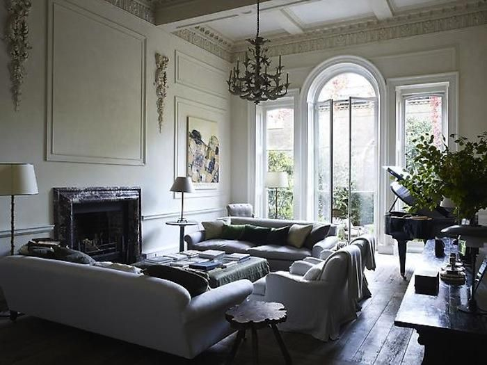 positioning of sofas - make a big room look friendly - Rose Uniacke London Apartment, Remodelista