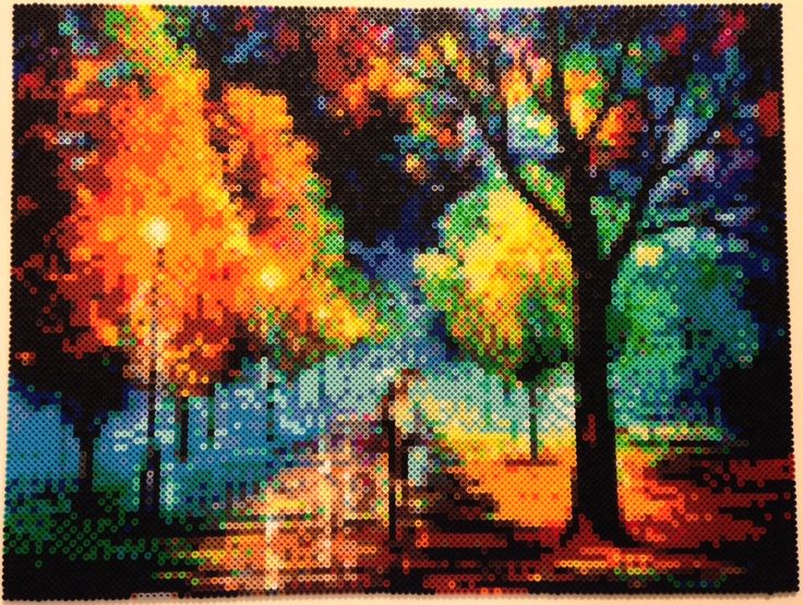 Night Alley - Perler tribute to a painting called 'Night Alley' by Leonid Afremov - By Ellsworth-Toohey on DevianART