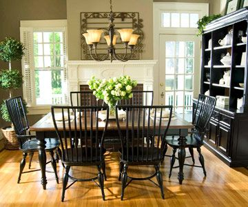 Black hutch and black table with a wood top Home decor