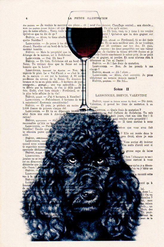 Zwarte poedel met wijnglas Originele Print op antieke pagina van 1900. De echte antieke papier, die ik gebruik komt uit de jaren 1900 originele antieke Franse boekenpagina. De pagina is ongeveer 7,5 x 11.4(19 x 29 cm). Elke creatie is uniek, ontvangt u de vergelijkbare afbeelding maar op een andere pagina van het antieke papier met inbegrip van de tekenen van de schoonheid door de tijd (vlekken, hoek bochten, ongelijke prenten, enz.). Uw art print zal worden verpakt in een doorzichtige pl...