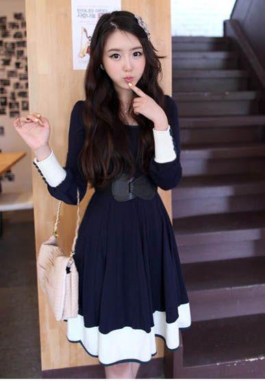 Meiga Estilo Cor Bloco Projeto Gola Pescoço Manga Comprida Algodão Mistura Vestido Feminino (Azul Escuro,Tamanho) | Sammydress.com
