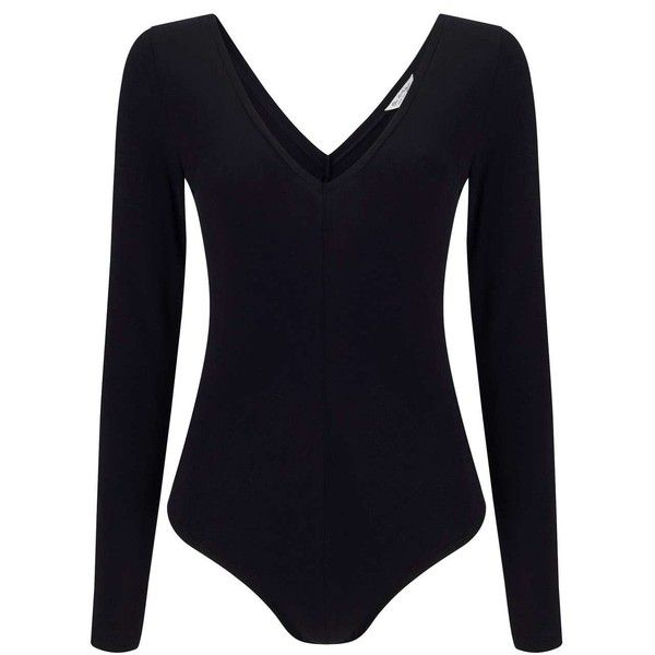 Miss Selfridge Black V Front and V Back Body ($28) ❤ liked on Polyvore featuring tops, black, fitted tops, long sleeve v neck bodysuit, long sleeve v neck top, body suit and v neck bodysuit