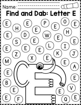 alphabet find and dab reading alphabet alphabet worksheets preschool education. Black Bedroom Furniture Sets. Home Design Ideas