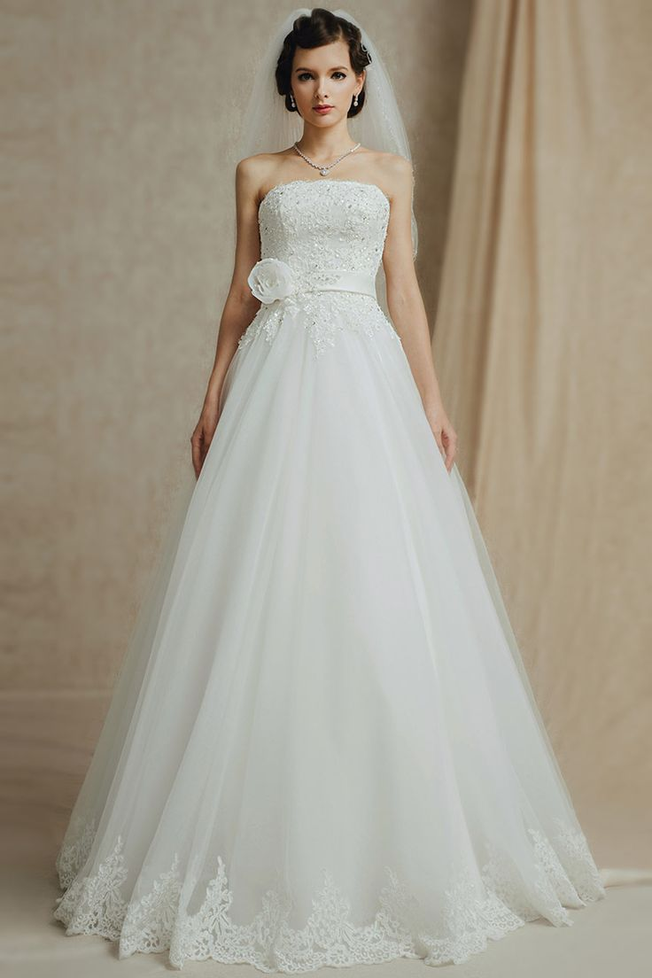 Modern Ivory Tulle A Line Strapless Floor Length Appliques Wedding Dress Dressesmall
