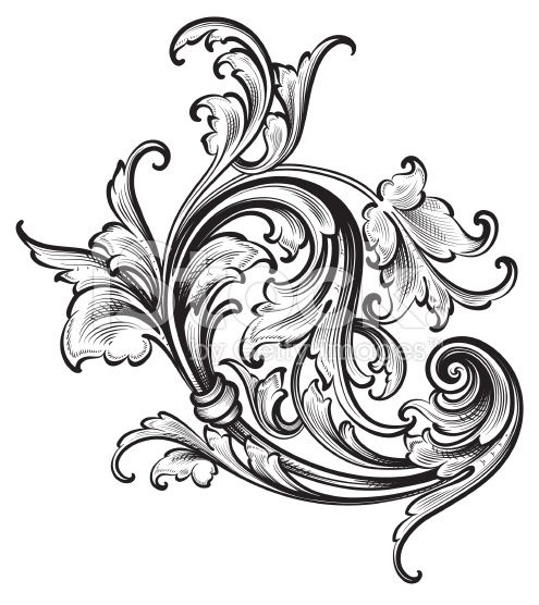 Flourish Arabesque Scrollwork royalty-free stock vector art