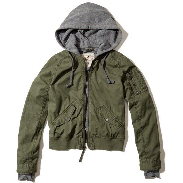Hollister Hooded Bomber Jacket ($60) ❤ liked on Polyvore featuring outerwear, jackets, olive, bomber style jacket, olive bomber jacket, flight jacket, hooded bomber jackets and military green bomber jacket