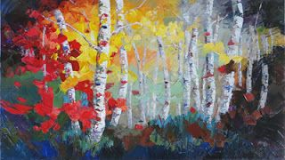 """Contemporary Artists of Texas: New """"Colorful Carousel"""" Palette Knife Aspen Tree Painting by Niki Gulley"""