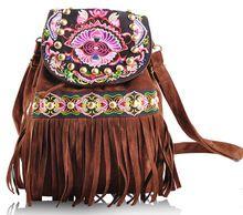 Tassels Backpack Women Embroidery Back Bag Ethnic Style Canvas Back Bags Fashion Brown Fringe Bags Crossbody Bags Bolsa Feminina(China (Mainland))