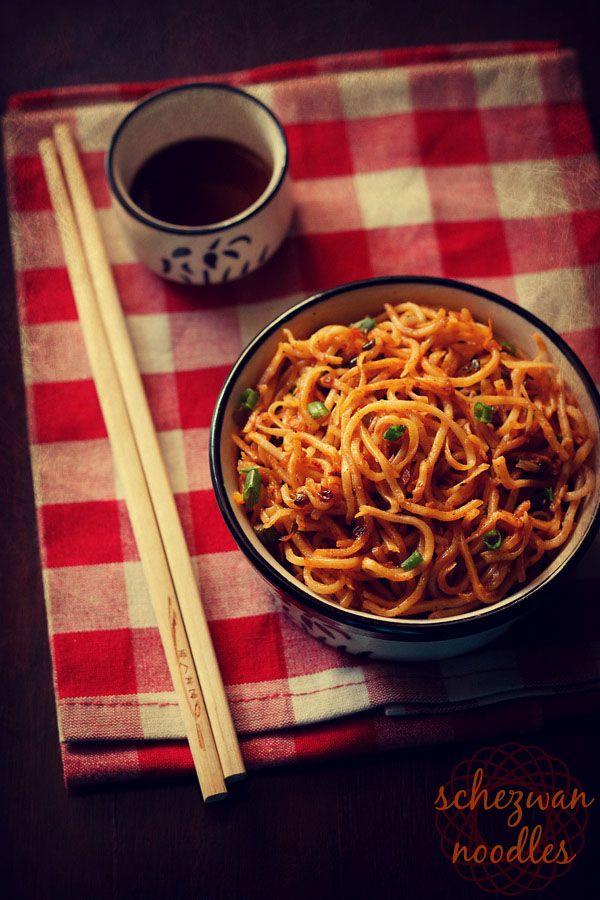 schezwan noodles recipe - spicy stir fried vegetable noodles with schezwan sauce. step by step recipe.