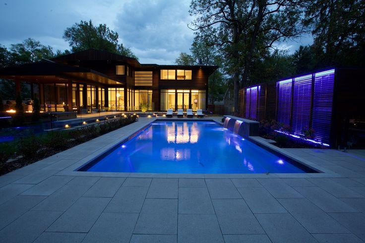 #lighting #waterfall #cabana #pool #pooldesign #landscaping