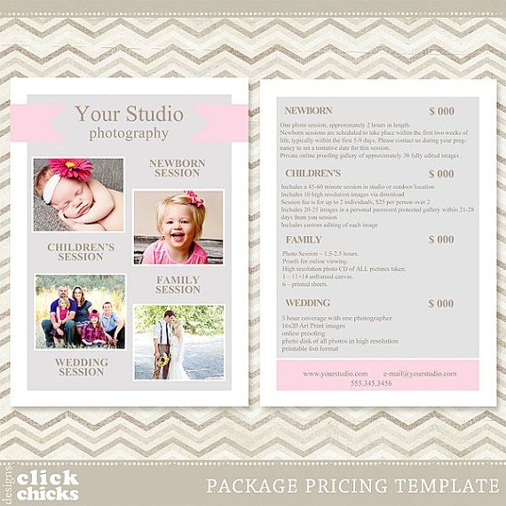 Photography Package Pricing List Template - Price List ...